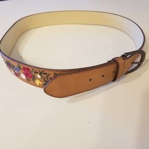 3/$25 Embroidered Flowers Manmade Belt Size XL